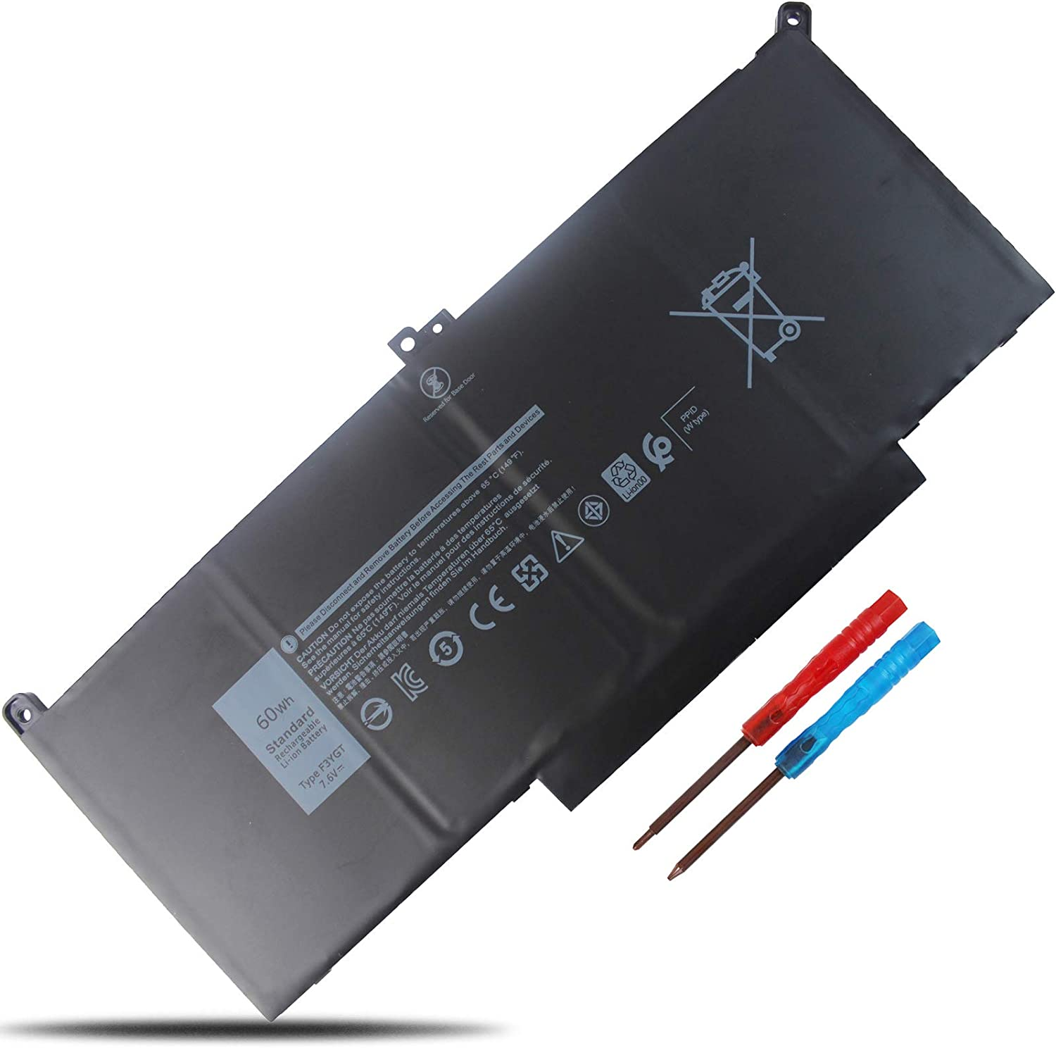 LXHY F3YGT 60Wh 7.6V, Laptop Battery Compatible with Dell Latitude 12 7000 12 7280 12 7290 13 7000 13 7390 14 7000 14 7480 Latitude 7490 (i5-8350U FHD), 4 Cells Replacement DM3WC 2X39G 451-BBYE