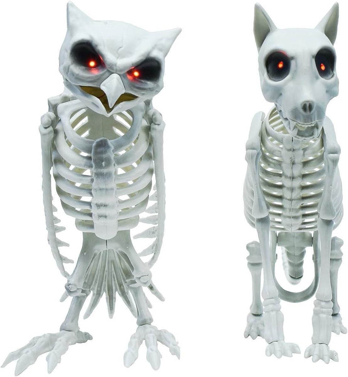 Treasure Gurus 2pc Scary Light Up Skeleton Dog Owl Indoor Haunted House Prop Spooky Halloween Party Decor Set White