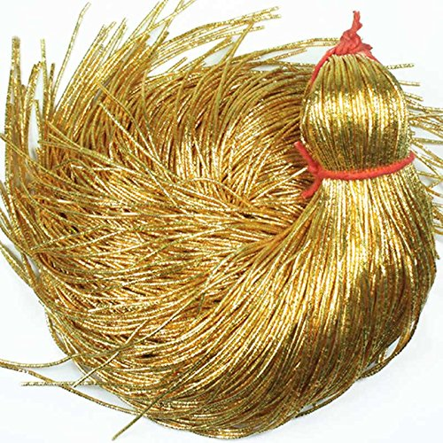 French Bullion Wire(Nakshi), Honey Gold Color, 0.7MM, 54.86 Mtr(100 Gram) (Bullion French Wire)
