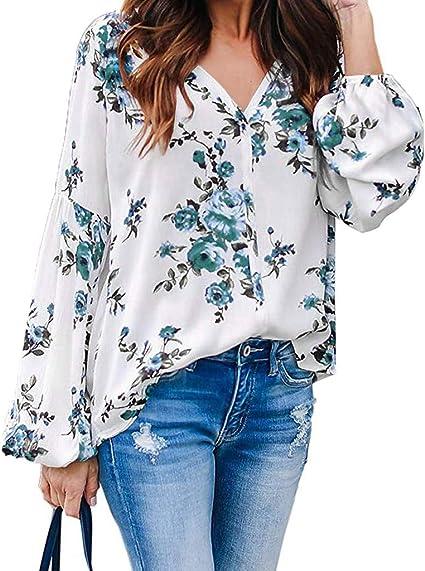 Blusa de Mujer Hawkimin, Verano, otoño, Cuello en V, cómoda, Informal, de Manga Larga, con Estampado Floral, Blusa para Mujer con Farol Verde XXL: Amazon.es: Ropa y accesorios