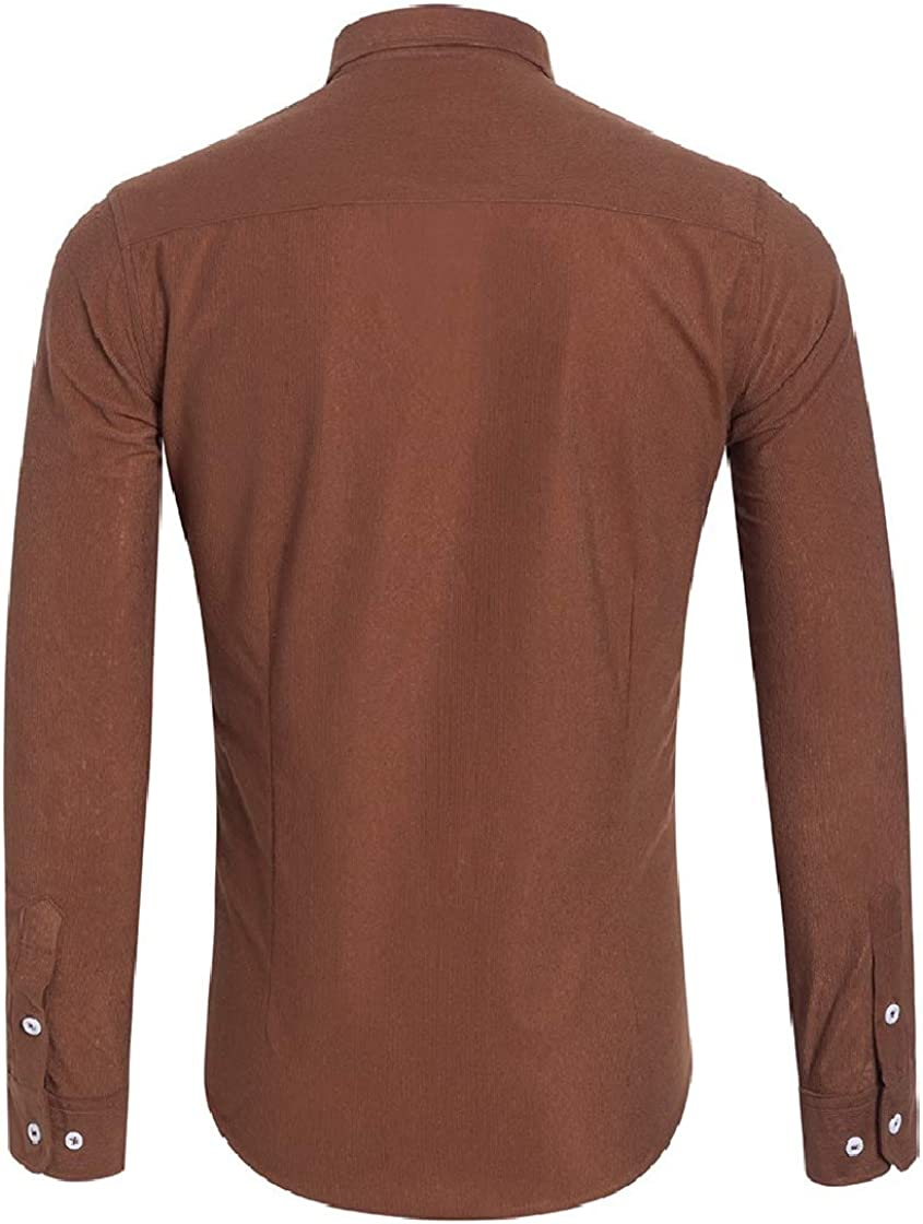 YUNY Mens Corduroy Casual Plus Size Long Sleeve Bussiness Work Shirt AS1 L