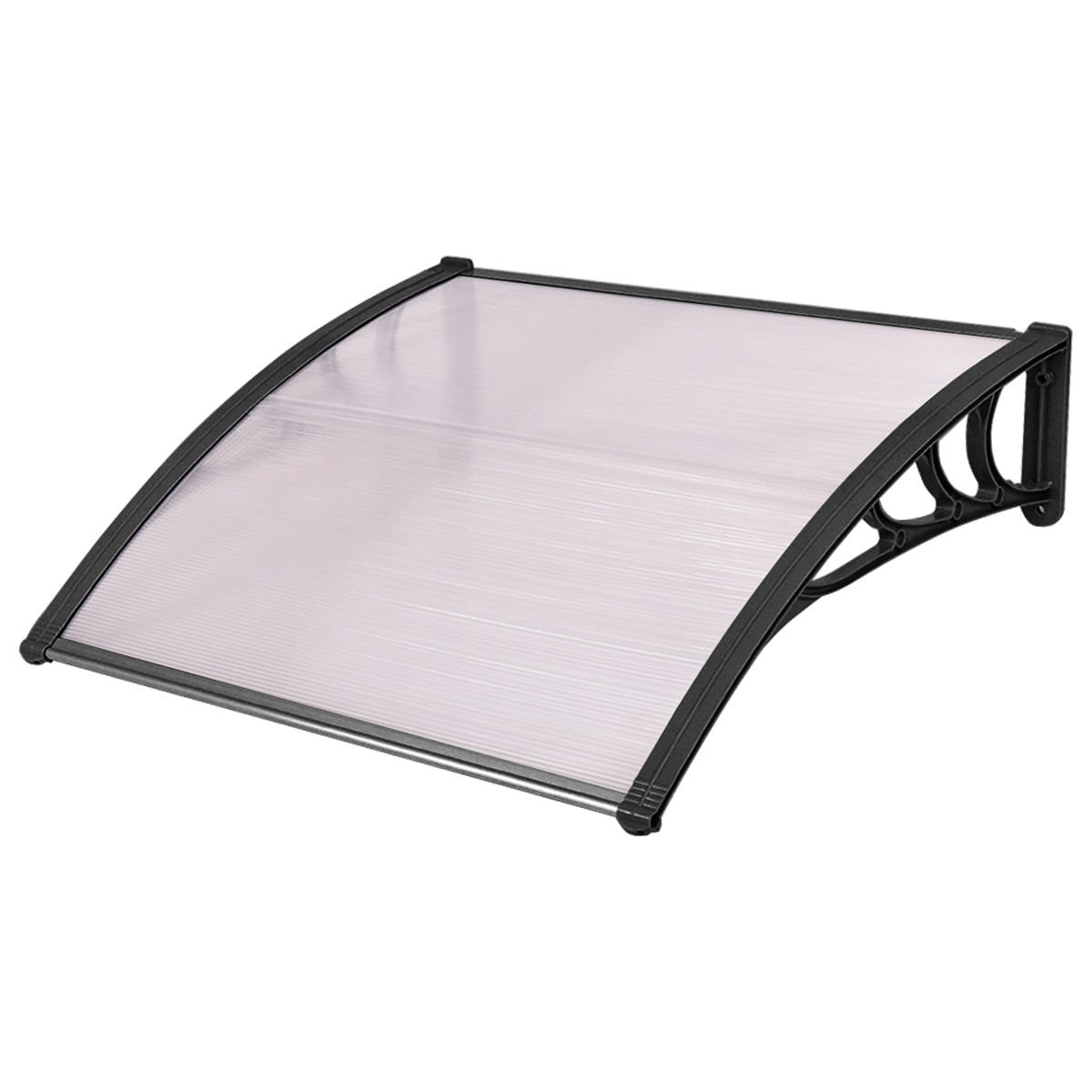 Tangkula 40''x 40'' Window Awning Modern Polycarbonate Cover Front Door Outdoor Patio Canopy Sun shetter 3 Colors (Clear with Black Edge)