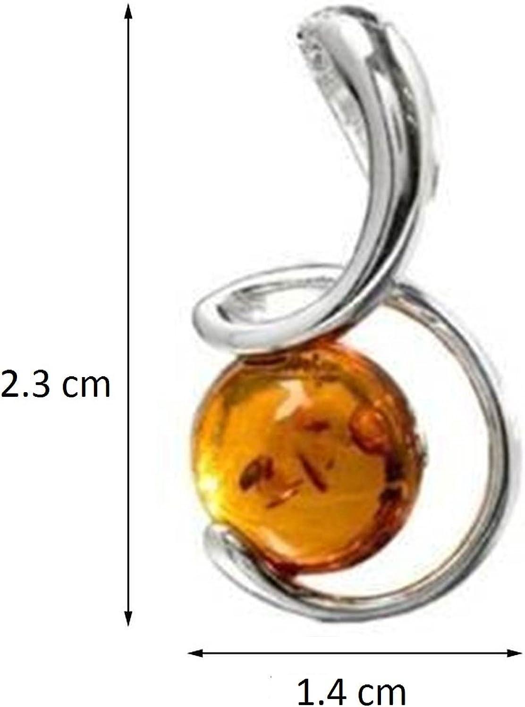Pendentif original en argent sterling avec lune en ambre