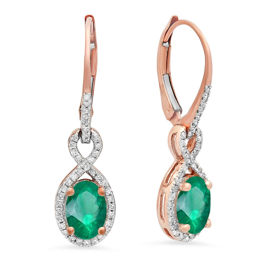 10K Rose Gold Oval Emerald & Round White Diamond Ladies Infinity Dangling Earrings