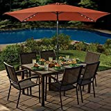 11 Foot Rectangular Aluminum Patio Umbrella With 22 LED Solar Lights  (Chocolate)