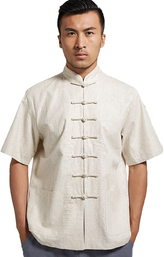 Chickle Men's Chinese Style Max 75% OFF Short Reservation Sleeve Tang L Frog Button Suit