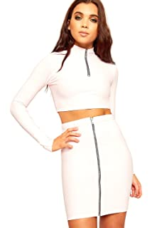 8595ae579 WearAll Women s Ribbed Long Sleeve Zip Crop Top Mini Skirt Co-Ord Set  Ladies Stretch