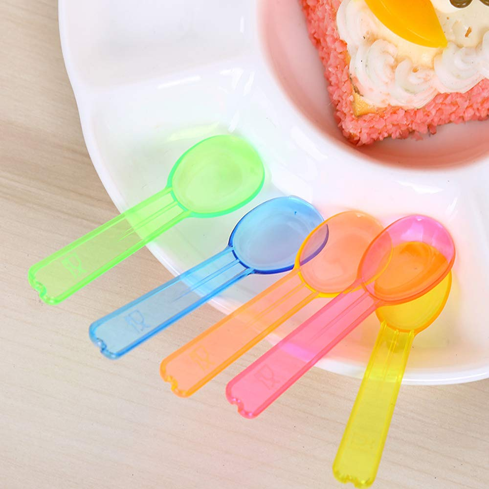 Hebudy Disposable Spoons Plastic Spoons Mini Spoon for Dessert Tasting Parties BBQ Picnics Birthday Multicolor 200 Pack
