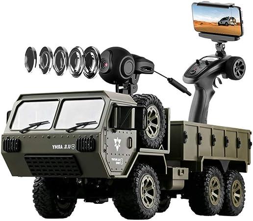 WYZXR Coche de Control Remoto para Adultos y niños, 1:16 Military Truck 6x6 2.4G Control Remoto con cámara WiFi 4WD Camiones de Carga para niños Coches Juguetes Regalos: Amazon.es: Hogar