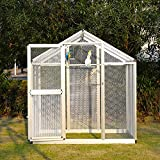 6'x4' Walk In Aluminum Large Aviary Bird Cage Metal Pet House Heavy Duty for Parrot Macaw, w/ 2 Doors (cage, 3)
