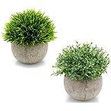 2個セット造花 人工観葉植物 光触媒植物 インテリアにあわせやすい人工植物、インテリア 雑貨、親友への贈り物としても適する (小さな鉢植えの植物) (A)