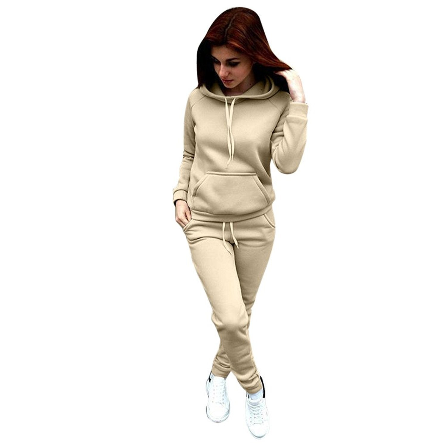 Challyhope Tracksuit, Women Casual Sweatshirt Hoodie + Sweatpants Two-Pieces Outfit (Beige, M)