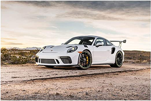 Amazon Com Porsche 911 Gt3 Rs 2019 Car Art Poster Print On 10 Mil Archival Satin Paper White Front Side Static View 18 X24 Posters Prints