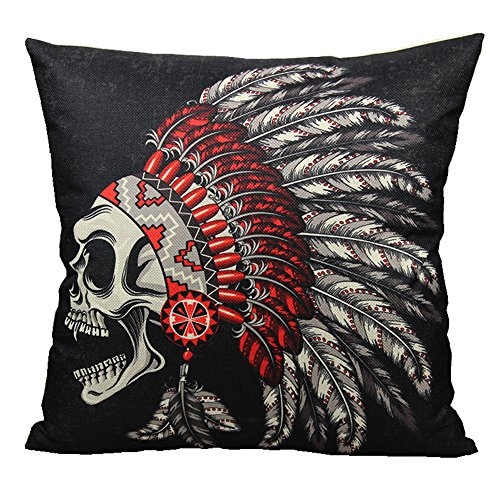 Skull Head Printed Pillow Cover Cotton Linen Cushion Case - 1