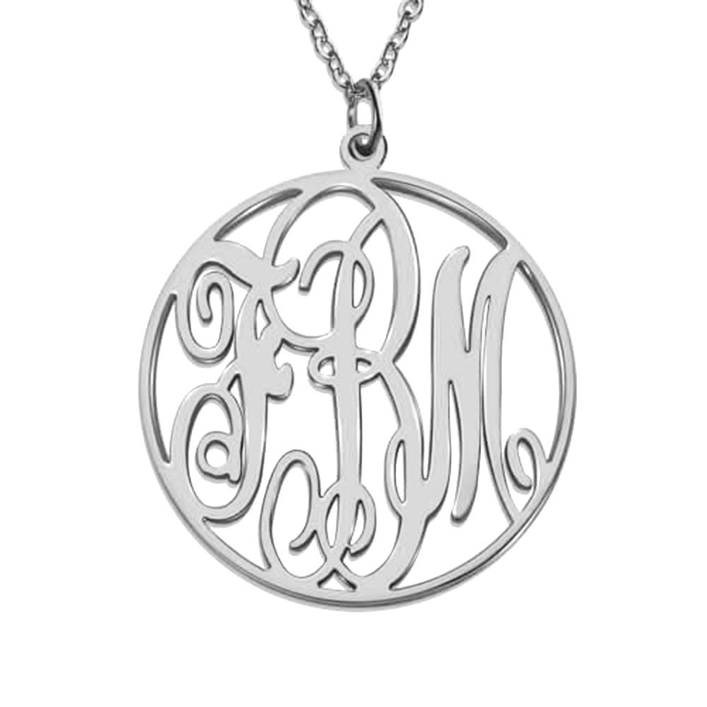 HACOOL 925 Sterling Silver Personalized Circle Monogram Necklace Custom Made with 3 Initials