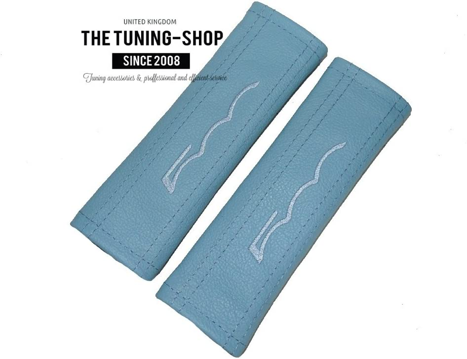 2 x Seat Belt Covers Pads Baby Blue Leather 500 Baby Blue Embroidery