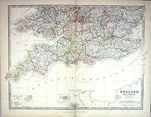 Jersey 1881 de Guernesey de las Islas del Canal de Inglaterra País De Gales del Mapa de la Antigüedad de Johnston
