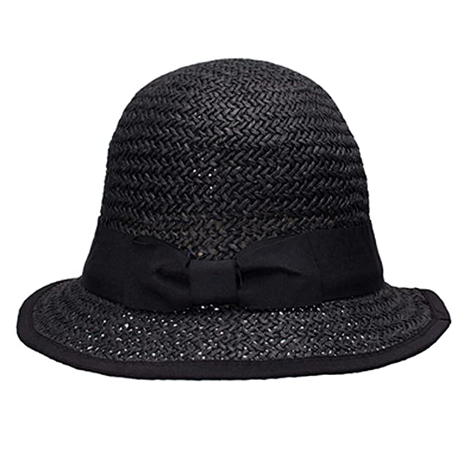 6b1e8097cf5 Women Sun Hats Paper Straw Boater Hat Cloche Bucket Sun Cap Black ...