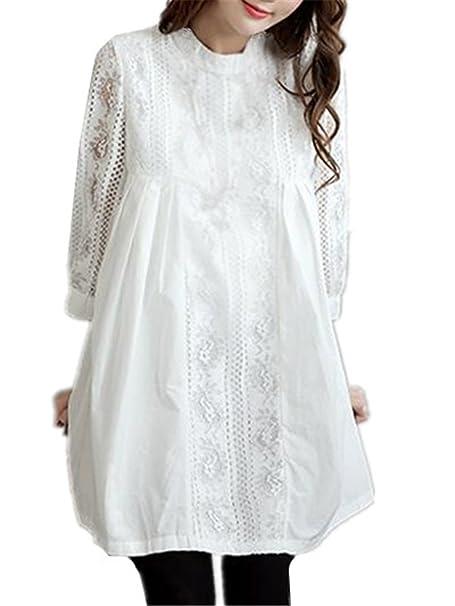 Tayaho Camisetas de Premamá Mujer Blusas Costura Encaje Ropa Bebé Para La Camiseta de Maternidad Mujeres Embarazadas Top Informal T-Shirt Hermosas Elegante: ...