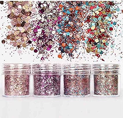 eef0a72ce9 Buy 4 Boxes Chunky Mixed Glitter Acrylic Gel Nail Art for Face Body ...