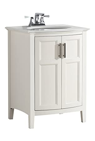 Simpli Home Winston 24u0026quot; Bath Vanity Rounded Front With Quartz Marble  Top, Soft White
