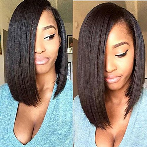 ZigZag Hair 360 Lace Frontal Wig 130% Density Straight Short Human Hair Bob Wigs For Black Women Pre Plucked with Baby Hair (10inch, Natural Color) by ZigZag Hair