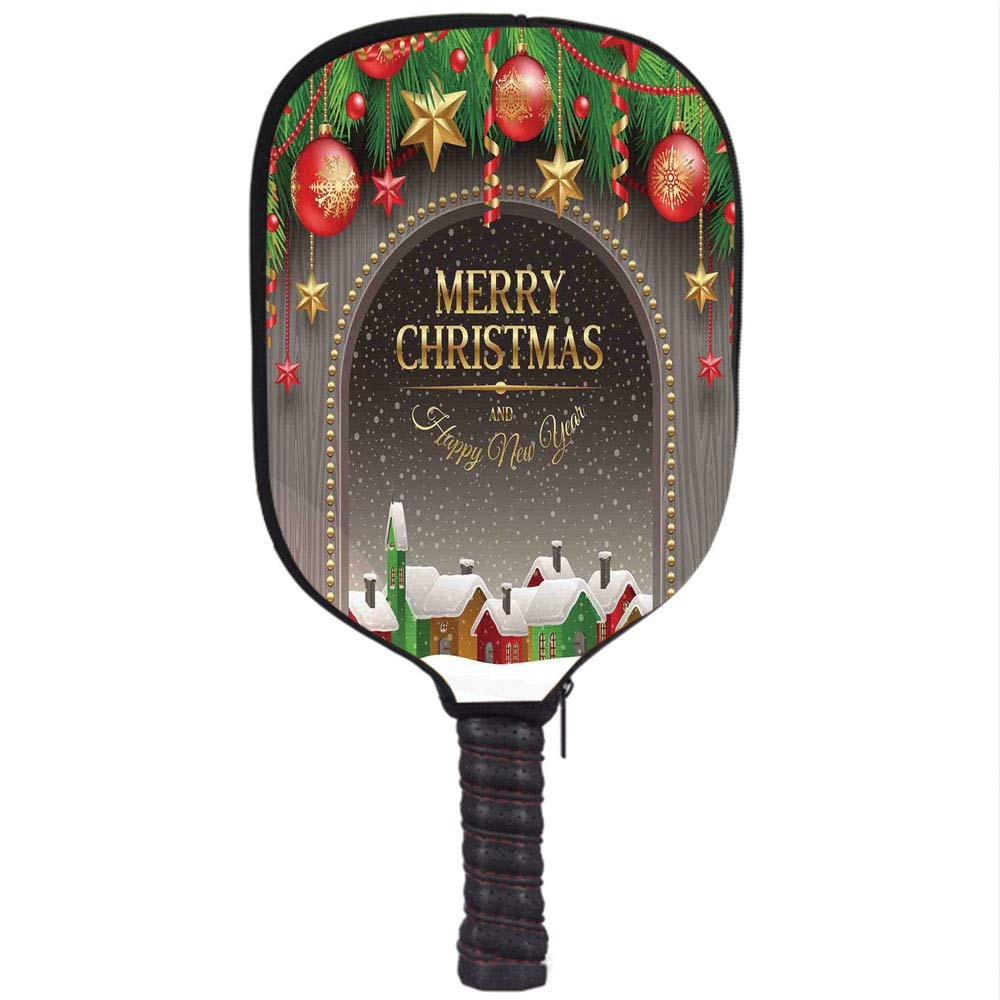 Amazon.com : iPrint Neoprene Pickleball Paddle Racket Cover Case, Christmas Decorations, Classic Rustic Design Season Greetings Golden Letters Village ...