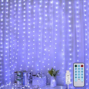 Dienalls Led Fairy Lights, Curtain Lights for Room Wall Bedroom Decor, Led String Lights Waterproof 300LED Remote Control, Hanging Lighted Curtains for Tiktok & Teen Girls 9.8ftx9.8ft White