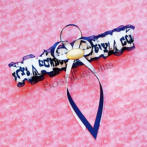 Customizable - Dallas Cowboys white fabric handmade into bridal prom navy organza wedding garter with football charm