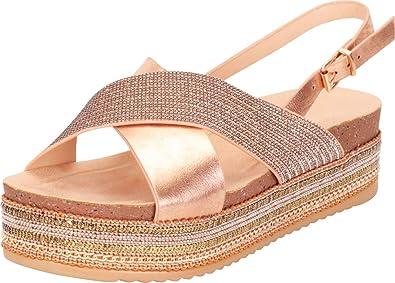 9608ee25651f4 Cambridge Select Women s Open Toe Crisscross Strap Slingback Beaded Chain  Mixed Media Flatform Sandal (6