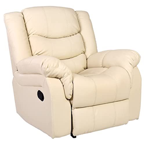 SEATTLE LEATHER RECLINER ARMCHAIR SOFA HOME LOUNGE CHAIR RECLINING GAMING ( Cream)