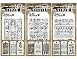 Tim Holtz - Nine Mini Layering Stencils - Industrial, Gears, Plus, Clockwork, Numbered, Crackle, Typo, Splatters and Bricked - aka sets 1, 2 & 3