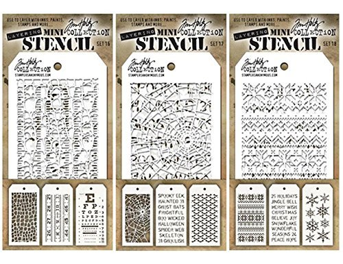 Tim Holtz - Nine Mini Layering Stencils - Industrial, Gears, Plus, Clockwork, Numbered, Crackle, Typo, Splatters and Bricked - aka sets 1, 2 & 3