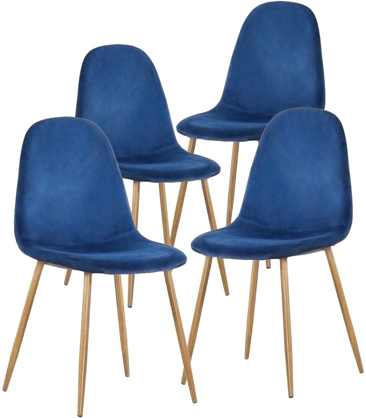 Amazon Com Greenforest Dining Chairs For Kitchen Mid Century Modern Side Chairs Velvet Upholstered Dining Chair With Metal Legs Set Of 4 Blue Furniture Decor