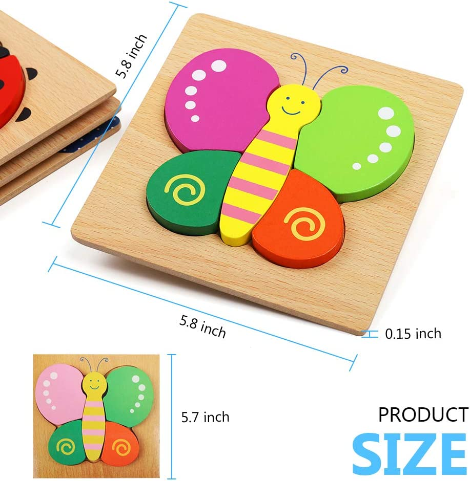 Boys /&Girls Educational Preschool Toys Gift with Bright Vibrant Colors Wooden Animal Jigsaw Puzzles Puzzles Toys with 4 Animals Patters for Toddlers 1 2 3 Years Old