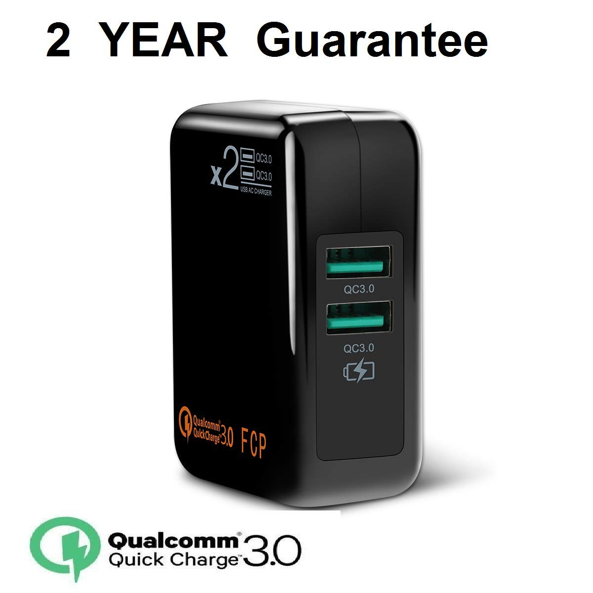 [QC3.0=2USB]Dual Quick Charge3.0 30W USB Wall Charger,Travel Fast Charger Adapter QC2.0 Quick Charging Block Plug SmartPorts+Detachable Plug for SamsungS8,Note,iPhoneiPad,LG Nexus HTC More-Black