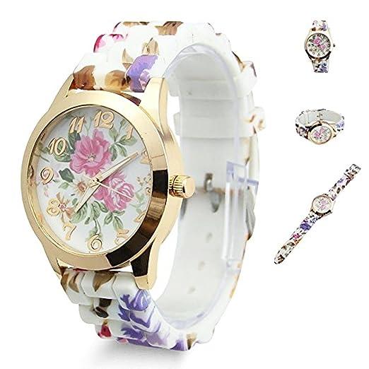 TrifyCore Reloj de Mujer Reloj de Flores con Flores Mejor Regalo para Amantes de la Madre Vestido de Mujer Relojes de Pulsera de Cuarzo: Amazon.es: Relojes