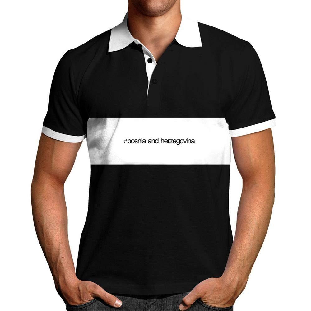 Idakoos Hashtag Bosnia and Herzegovina Bold Text Chest Stripe Polo Shirt