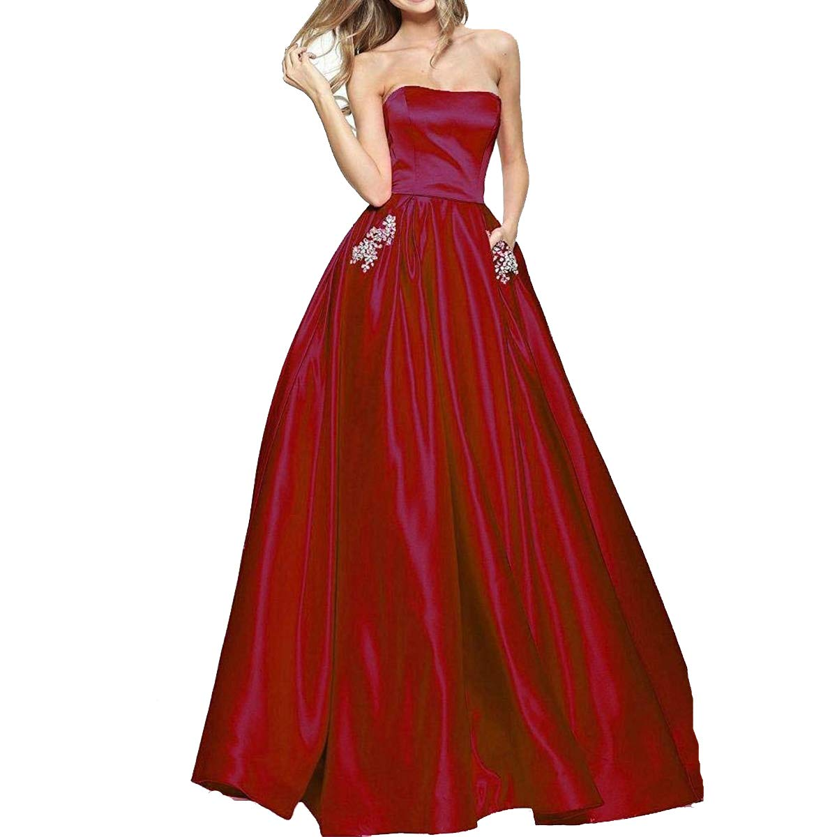 Burgundy TTYbridal Women's ALine Strapless Beaded Prom Dresses Long Satin Homecoming Party Gown with Pockets