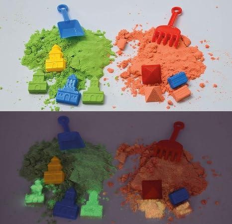 Arena mágica fosforescente para modelar. 800 gr. 2 Colores. con 16 ...