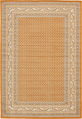 Unique Loom Williamsburg Collection Traditional Border Orange Area Rug (6' 0 x 9' - Rug Market Woven Place Hand