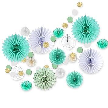Sunbeauty Decoration Chambre Vert Menthe Enfant Lot De Rosace Papier Vert Et Circle Guirlande Pour Bapteme Anniversaire Salon Deco
