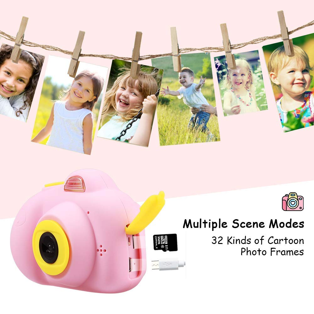SHCY Best Gift for 3-8 Year Old Kids, Kids Camera for Girls, Outdoor Toys for 4-7 Year Old Girls Boys Children,8MP HD Video Camera, Pink(32GB SD Card Included) by SHCY (Image #7)