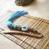 Comfspo Classic Chinese Style Metal Bookmarks Blue Beads With Fringe Beautiful Page Mark Best Present For Friends or Souvenir