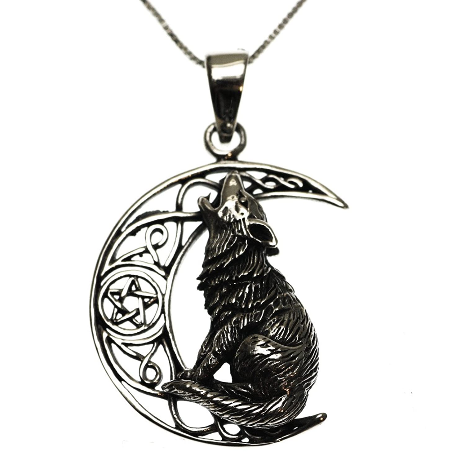 Sterling silver 925 wolf moon pendant necklace amazon jewellery mozeypictures Choice Image