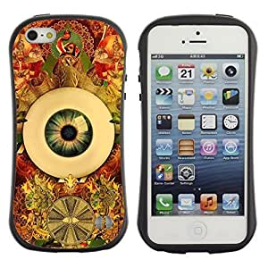 Hybrid Anti-Shock Bumper Case for Apple iPhone 5 5S / Cool Psychedelic Eye & Pattern