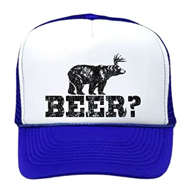 b1ed9831a9b00 Image Unavailable. Image not available for. Colour  Retro Deer Beer Bear - funny  party joke Funny Mesh Trucker Cap Hat ...