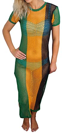 f27d4cc837 Crystal Ladies Striped Strech Rasta Maxi Dress Cover up 100% Cotton String  Mesh Fishnet Short