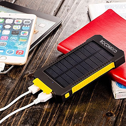 Water-proof 20000 mAh Solar Mobile Power Bank Solar Charger (Yellow) - 5