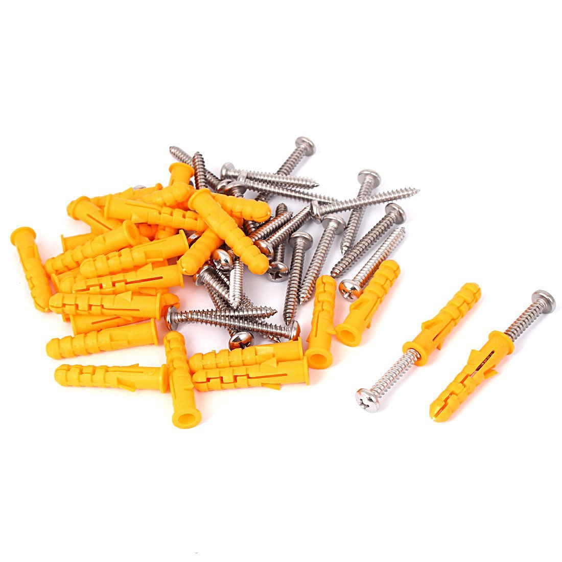 Uxcell a16031800ux1299 25pcs 8x40mm Plastic Wall Screw Anchor Plugs with Philip Round Head Screw